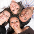 Beautiful family - heads together — Stock Photo