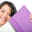 Foto Stock: Beautiful student with notebook
