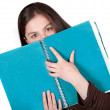 Stock Photo: Beautiful student hugging a notebook