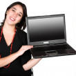 Girl displaying laptop — Stock Photo #7705658