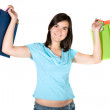 Stock Photo: Beautiful woman with shopping bags