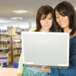 Girls in the library with a laptop — Stock Photo #7705770