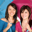 Happy sisters - funky colours — Stockfoto #7705806