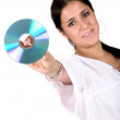 Young woman holding a cd rom - ストック写真