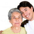 Stock Photo: Grandson and grandmother