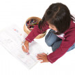 Little kid drawing pictures - Stock Photo