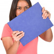 Student with blue book — Stock Photo #7705995