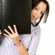 bella studentessa con un notebook — Foto Stock
