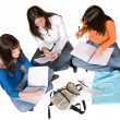 Beautiful students studying on the floor — Stock Photo