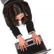 Stock Photo: Business womworking on laptop