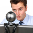 Business man - online conference — Stock Photo