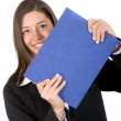 Business woman holding blue folder — Stock Photo