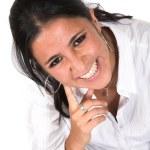 Business woman - big smile — Stock Photo