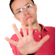 Casual guy hand - stop - Stock Photo