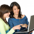 Girls on a laptop — Stock Photo