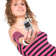 Casual girl showing mobile phone — Stock Photo