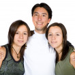 Casual guy with twin sisters — Stock Photo