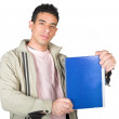 Casual student displaying notebook — Stock Photo