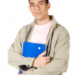 Stock Photo: Young student holding notebooks