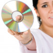 Compact disc - woman - Stock Photo