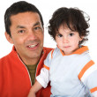 Stock Photo: Father and son over white
