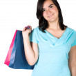 Clothes shopping girl - Stock Photo