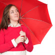 Girl with red umbrella - Stock Photo
