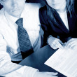 Stock Photo: Business partners in cyan