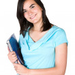 Stock Photo: Beautiful student in cyan