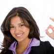 Business woman okay sign — Stock Photo