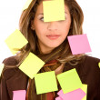 Stock Photo: Business wom- post its