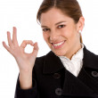 Business woman okay sign — Stock Photo