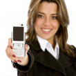 Businesswoman with a phone — Stock Photo