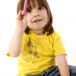 Children with a colour pencil - Stock Photo
