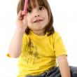 crianças com um lápis de cor — Foto Stock