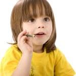 děti s barevné tužky — Stock fotografie