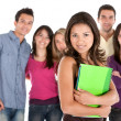 Beautiful student with friends — Stock Photo