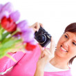 Woman taking a picture — Stock Photo