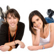 Stock Photo: Beautiful females on floor
