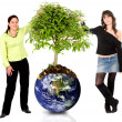 Women protecting the planet — Stock Photo