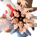 Friends waving — Stock Photo