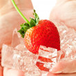 Frozen strawberry — Stock Photo