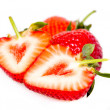 Strawberries over white - Stock Photo