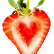 Heart shaped strawberry - Stock Photo