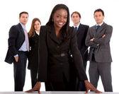 Biznes kobieta i jej zespołu — Zdjęcie stockowe