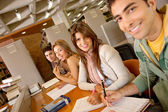 Students at a library — Stock Photo