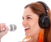 Karaoke woman — Stock Photo