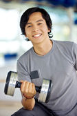 Man with weights — Stock Photo