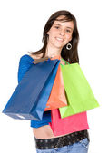 Girl shopping away — Stok fotoğraf