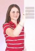 Klicka här - casual flicka i rött — Stockfoto